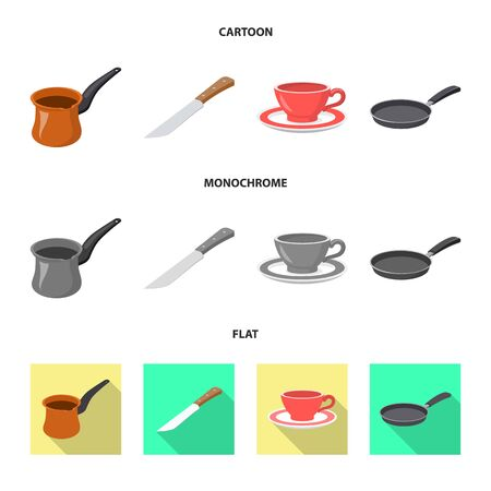 Vector illustration of kitchen and cook logo. Collection of kitchen and appliance vector icon for stock.