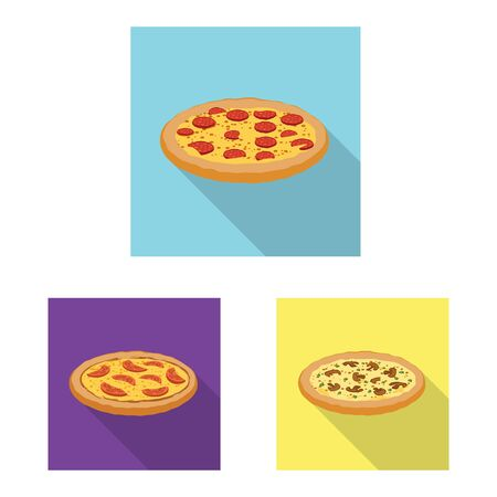 Isolated object of pizza and food symbol. Set of pizza and italy vector icon for stock. Фото со стока - 129157511