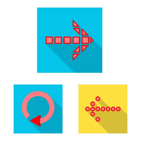 Isolated object of element and arrow symbol. Set of element and direction stock vector illustration.