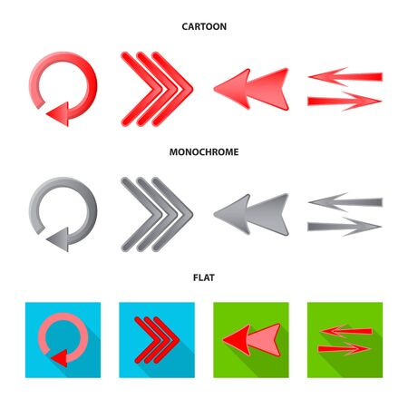 Isolated object of element and arrow logo. Collection of element and direction stock symbol for web.