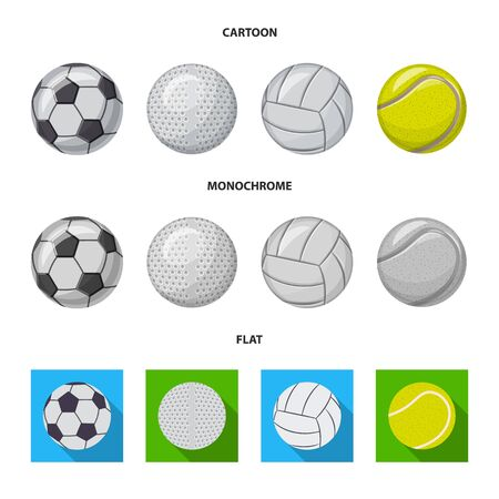 Vector design of sport and ball logo. Collection of sport and athletic stock vector illustration.