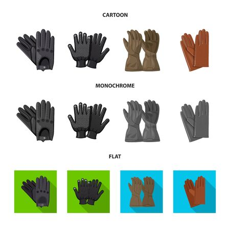 Vector design of glove and winter symbol. Collection of glove and equipment stock symbol for web. Çizim
