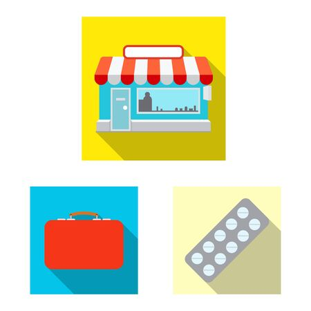 Vector design of pharmacy and hospital. Set of pharmacy and business vector icon for stock. Ilustrace