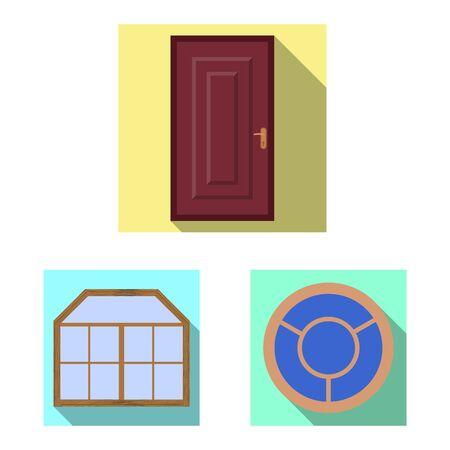 Vector design of door and front icon. Collection of door and wooden stock vector illustration. Foto de archivo - 129227736