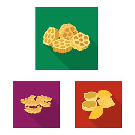 Vector illustration of pasta and carbohydrate icon. Collection of pasta and macaroni vector icon for stock.