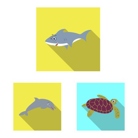 Vector illustration of sea and animal sign. Collection of sea and marine vector icon for stock.