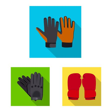 Vector illustration of glove and winter symbol. Collection of glove and equipment stock symbol for web.