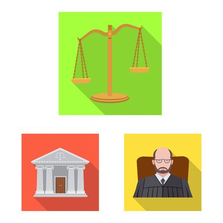 Vector illustration of law and lawyer logo. Set of law and justice vector icon for stock. Standard-Bild - 129158067