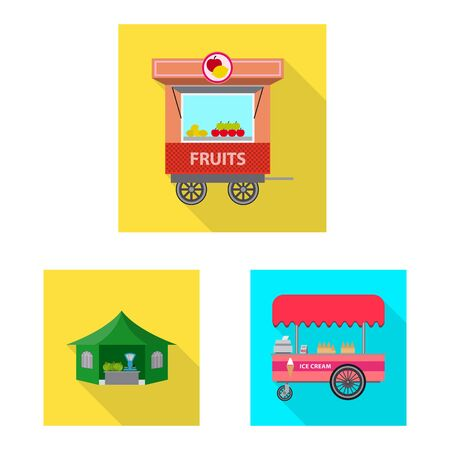 Isolated object of market and exterior symbol. Set of market and food stock vector illustration. Çizim