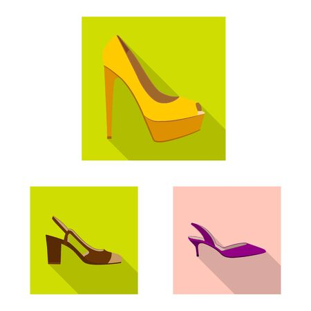 Vector design of footwear and woman logo. Set of footwear and foot vector icon for stock. Çizim
