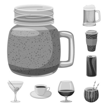 Vector illustration of drink and bar logo. Set of drink and party stock symbol for web. Çizim