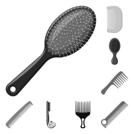 Vector illustration of brush and hair symbol. Collection of brush and hairbrush stock symbol for web.