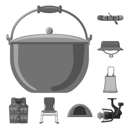Vector illustration of fish and fishing logo. Collection of fish and equipment stock vector illustration. Ilustração