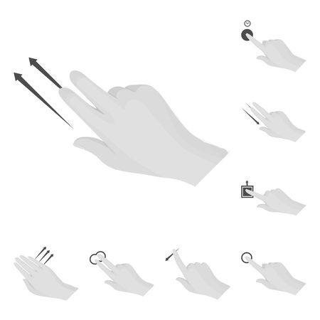 Isolated object of touchscreen and hand sign. Set of touchscreen and touch stock symbol for web.