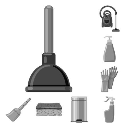 Vector design of cleaning and service symbol. Collection of cleaning and household vector icon for stock. Çizim