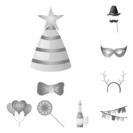 Vector illustration of party and birthday icon. Set of party and celebration stock vector illustration.