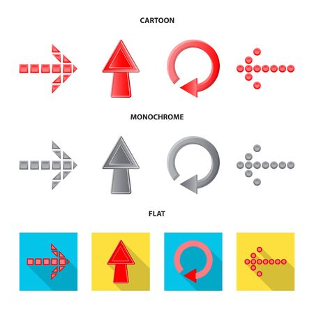 Vector design of element and arrow sign. Collection of element and direction stock symbol for web. Çizim