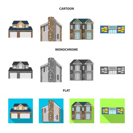 Isolated object of building and front icon. Collection of building and roof vector icon for stock.