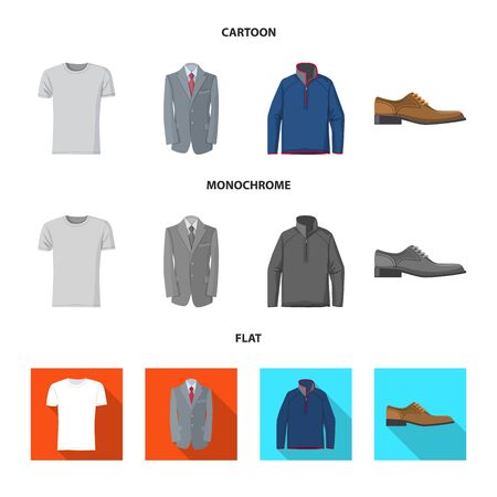 Vector illustration of man and clothing symbol. Collection of man and wear stock symbol for web.