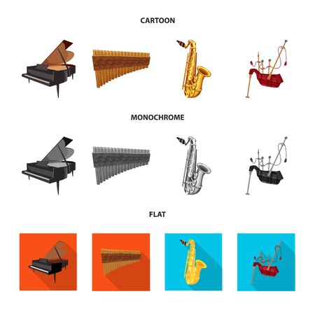 Vector illustration of music and tune sign. Set of music and tool stock vector illustration. Çizim