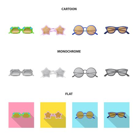 Vector design of glasses and sunglasses sign. Collection of glasses and accessory stock vector illustration.