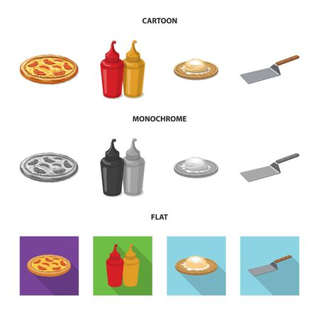 Vector illustration of pizza and food symbol. Set of pizza and italy stock symbol for web.