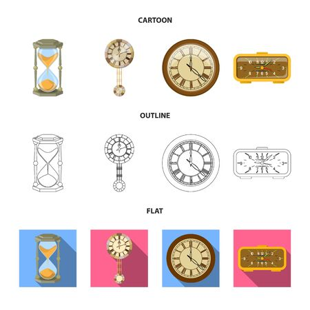 Vector illustration of clock and time symbol. Set of clock and circle vector icon for stock. Çizim