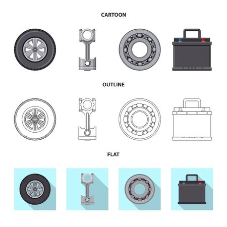 Vector design of auto and part icon. Set of auto and car stock symbol for web.