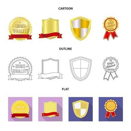 Vector illustration of emblem and badge logo. Collection of emblem and sticker stock vector illustration.