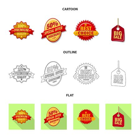 Isolated object of emblem and badge symbol. Collection of emblem and sticker stock symbol for web.