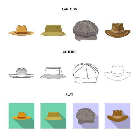 Vector design of headgear and cap symbol. Collection of headgear and accessory stock vector illustration. Ilustração