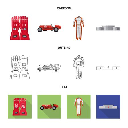 Isolated object of car and rally sign. Set of car and race vector icon for stock. Çizim