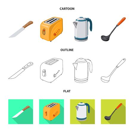 Isolated object of kitchen and cook symbol. Set of kitchen and appliance stock vector illustration.