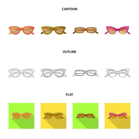 Vector illustration of glasses and sunglasses symbol. Set of glasses and accessory stock symbol for web.
