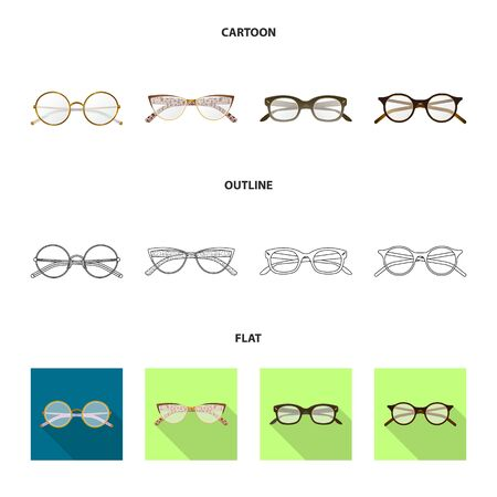 Isolated object of glasses and frame sign. Set of glasses and accessory stock vector illustration.