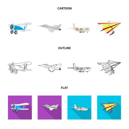 Vector design of plane and transport icon. Set of plane and sky stock vector illustration. Çizim