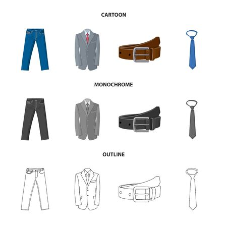 Vector design of man and clothing logo. Set of man and wear stock symbol for web.