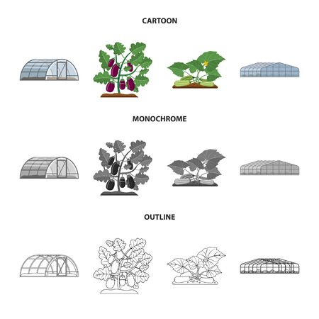 Vector illustration of greenhouse and plant logo. Set of greenhouse and garden stock vector illustration. Çizim