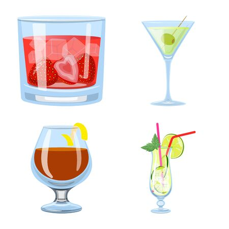 Vector design of cocktail and drink icon. Collection of cocktail and ice vector icon for stock.