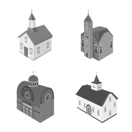 Vector design of landmark and clergy. Set of landmark and religion stock symbol for web.