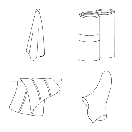 Vector illustration of fabric and hygiene icon. Set of fabric and bathroom vector icon for stock.