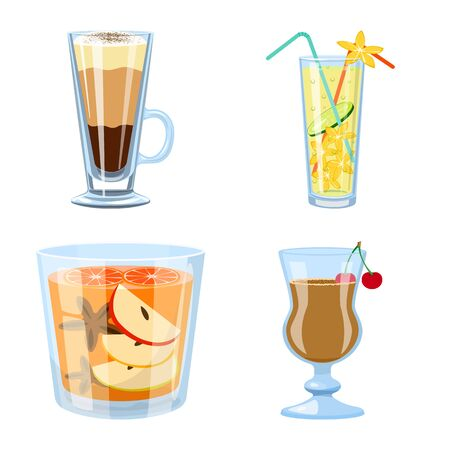 Isolated object of cocktail and drink symbol. Collection of cocktail and ice vector icon for stock.