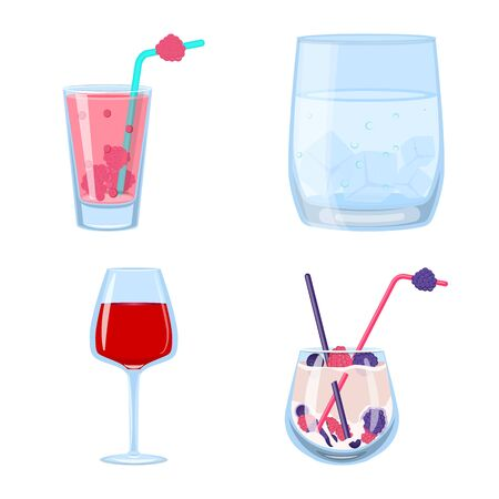 Vector illustration of cocktail and drink. Set of cocktail and ice stock symbol for web.