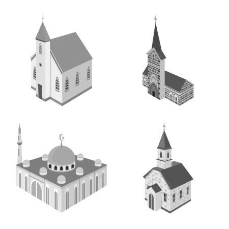 Vektordesign des Wahrzeichens und des Kleruszeichens. Satz von Wahrzeichen und Religionsvektorsymbolen für Aktien. Vektorgrafik