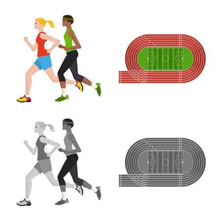 Vector illustration of sport and winner sign. Set of sport and fitness stock vector illustration. 写真素材 - 129227857