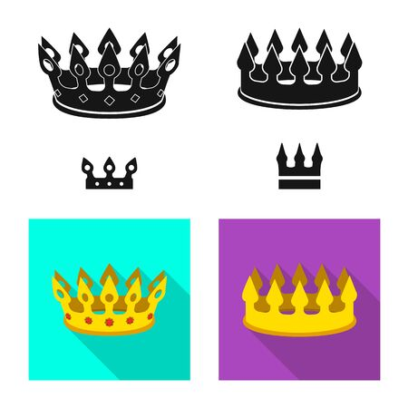 Vector illustration of medieval and nobility logo. Set of medieval and monarchy stock vector illustration.