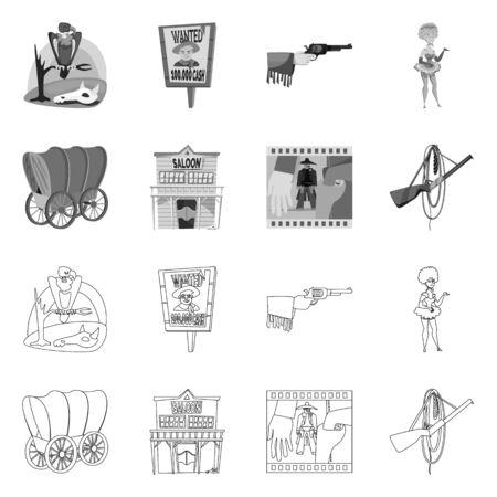 Vector illustration of texas and history icon. Collection of texas and culture vector icon for stock. Ilustração