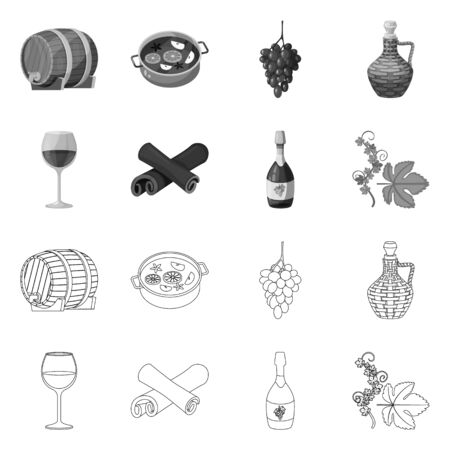 Isolated object of farm and vineyard symbol. Set of farm and product vector icon for stock.