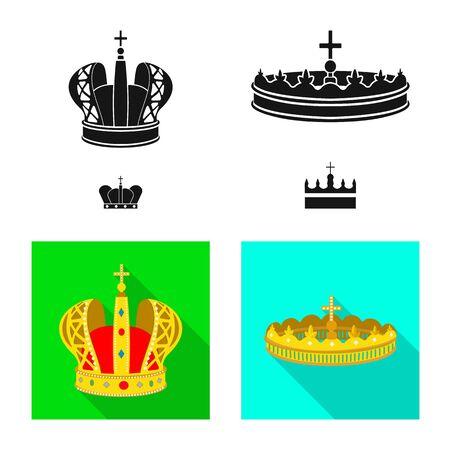 Vector design of medieval and nobility symbol. Set of medieval and monarchy stock vector illustration. Ilustração