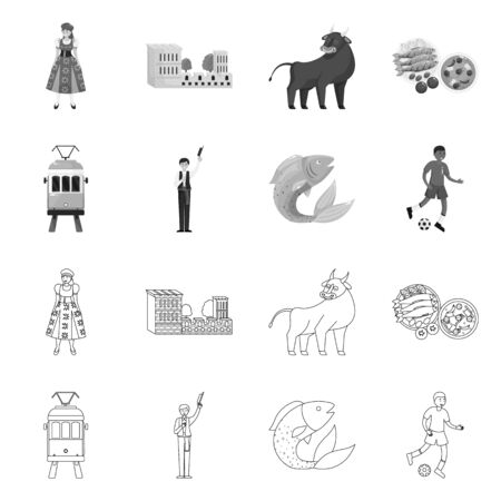 Isolated object of and historic symbol. Set of and country vector icon for stock. Иллюстрация